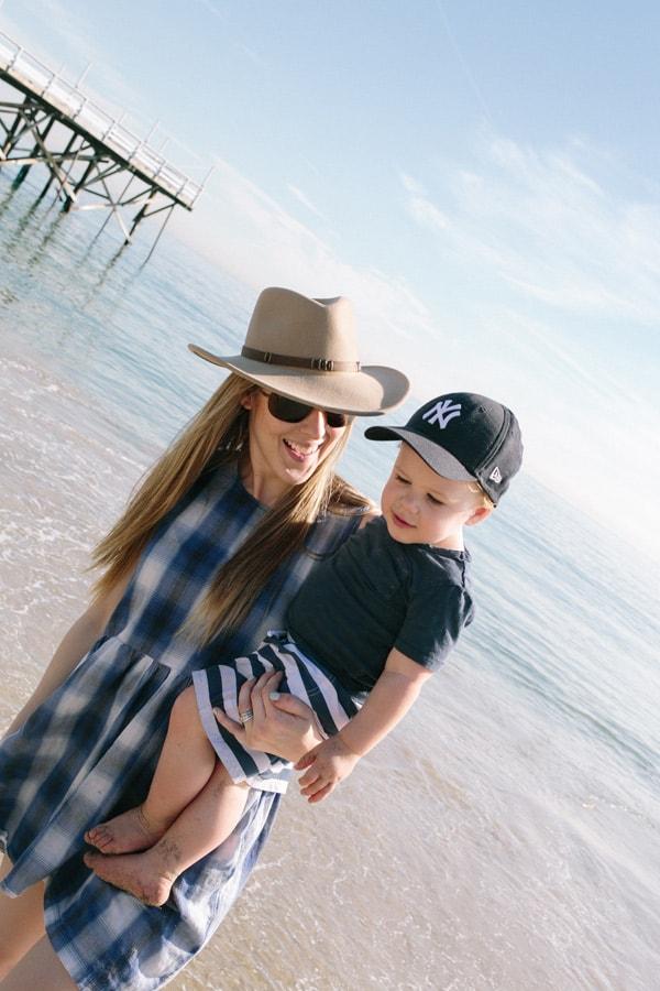 Eden Passante and son at beach