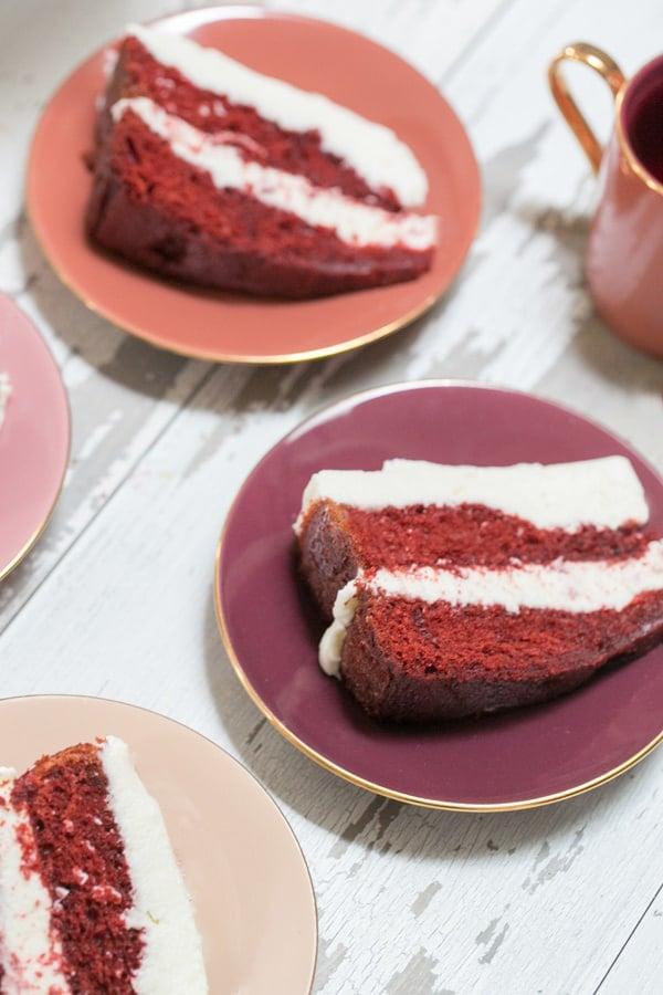 side shot of slices of easy red velvet cake