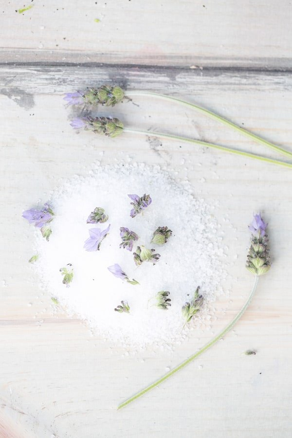 Salt with fresh lavender