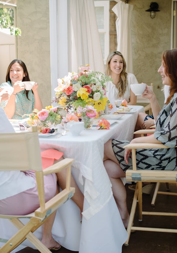 women sitting at a Mother's Day Backyard Tea Party