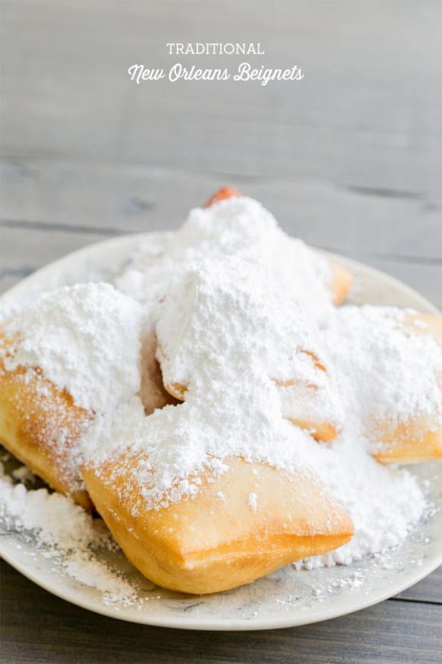 side shot of new orleans beignets