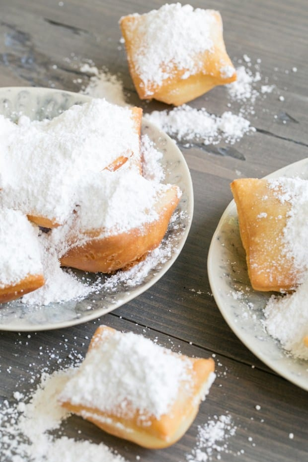 top down shot of powdered beignets