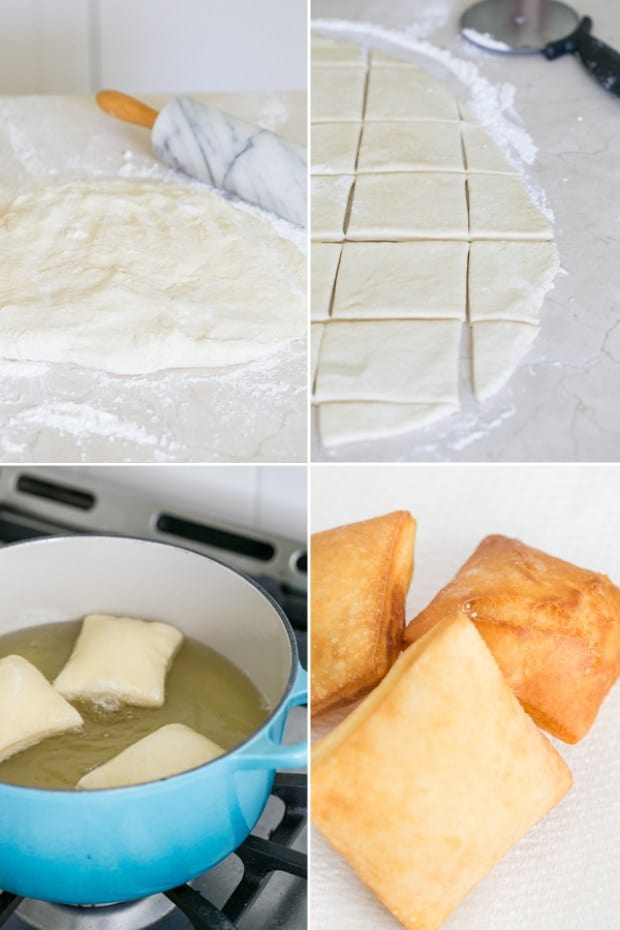 montage of rolling dough, then cutting dough, then frying beignets