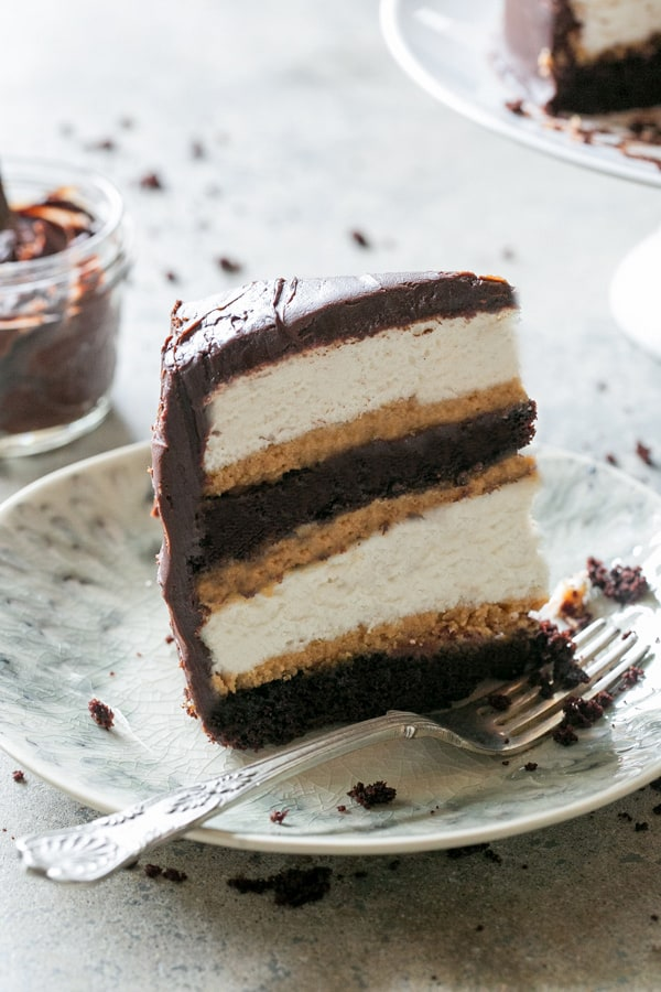 slice of layered chocolate cake