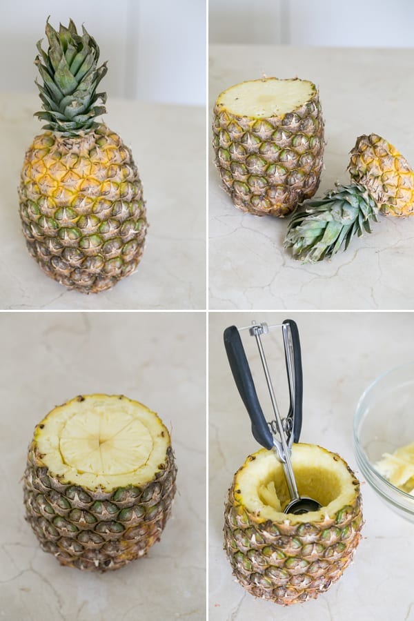 four photos shower how to cut a pineapple.