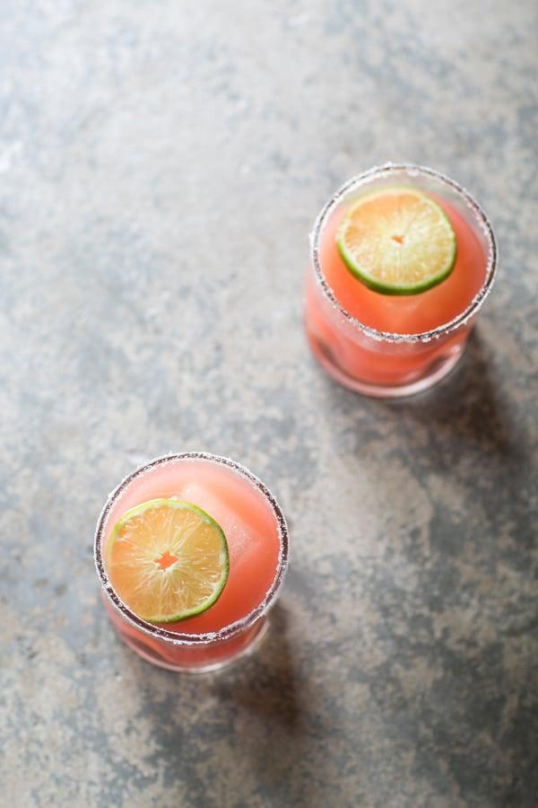 top down shot of watermelon margaritas
