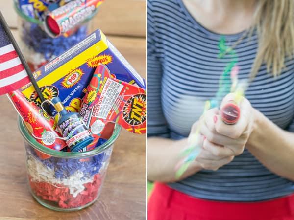 Fireworks in a glass jar
