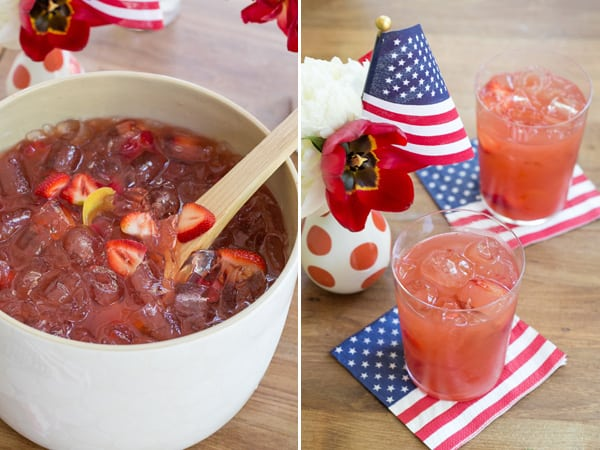 American punch with flag napkins