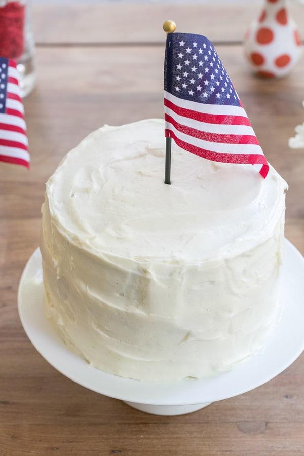 American flag napkin in a cake