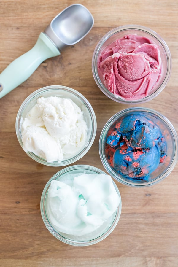 red, white and blue ice cream