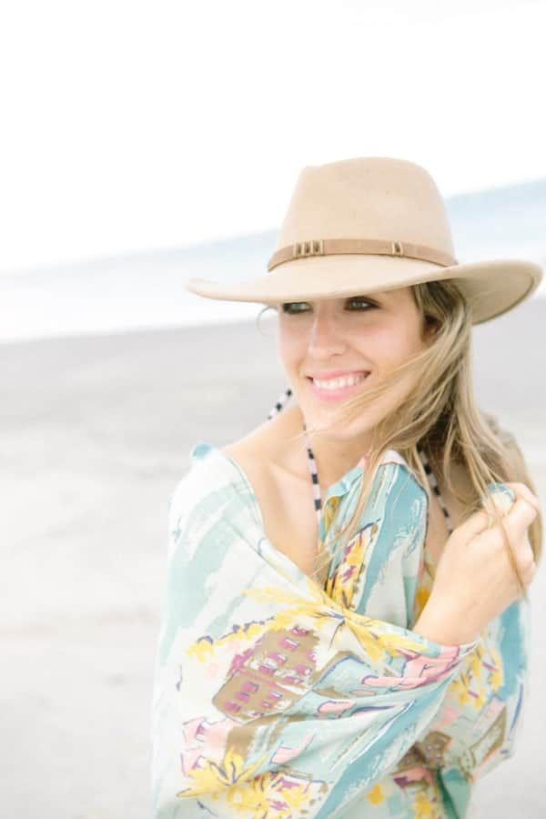 Eden Passante with a hat at the beach