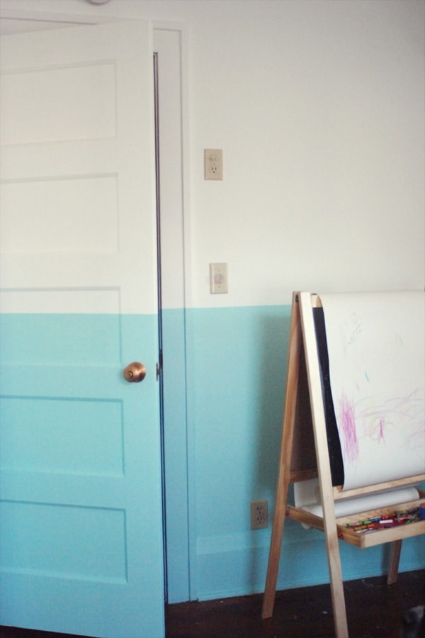 White and blue wall for kids art room
