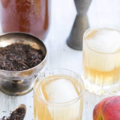 Peach Tea and Rum Cocktail