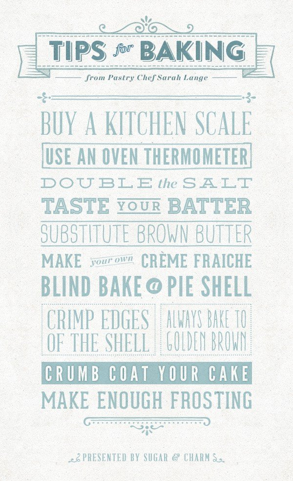 Graphic with tips on how to bake.