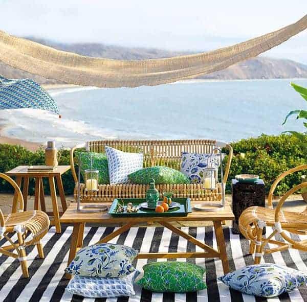 backyard furniture by ocean