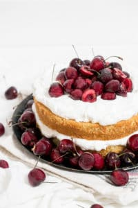 Buttermilk Cake with Whipped Cream and Bourbon Soaked Cherries
