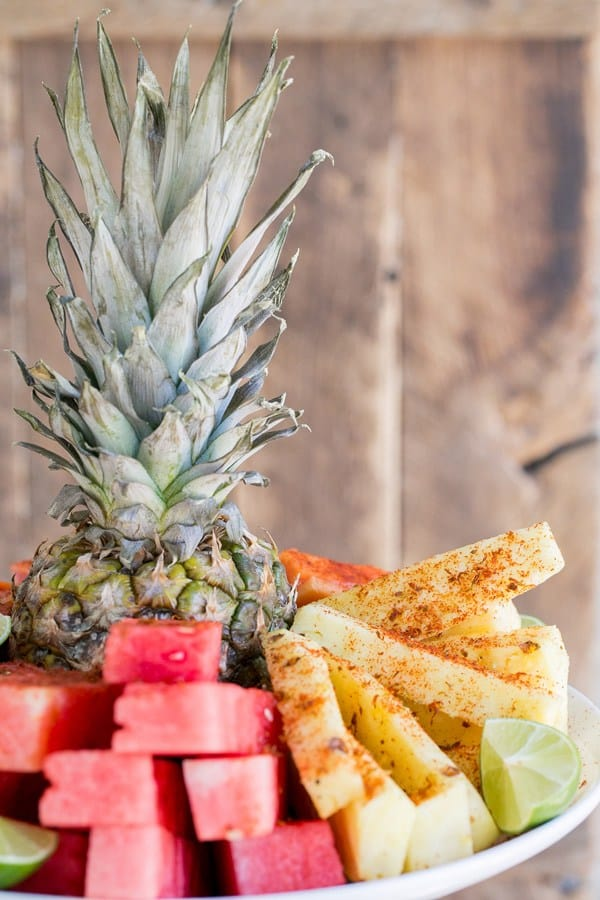 Pineapple and watermelon fruit platter with chili lime salt.