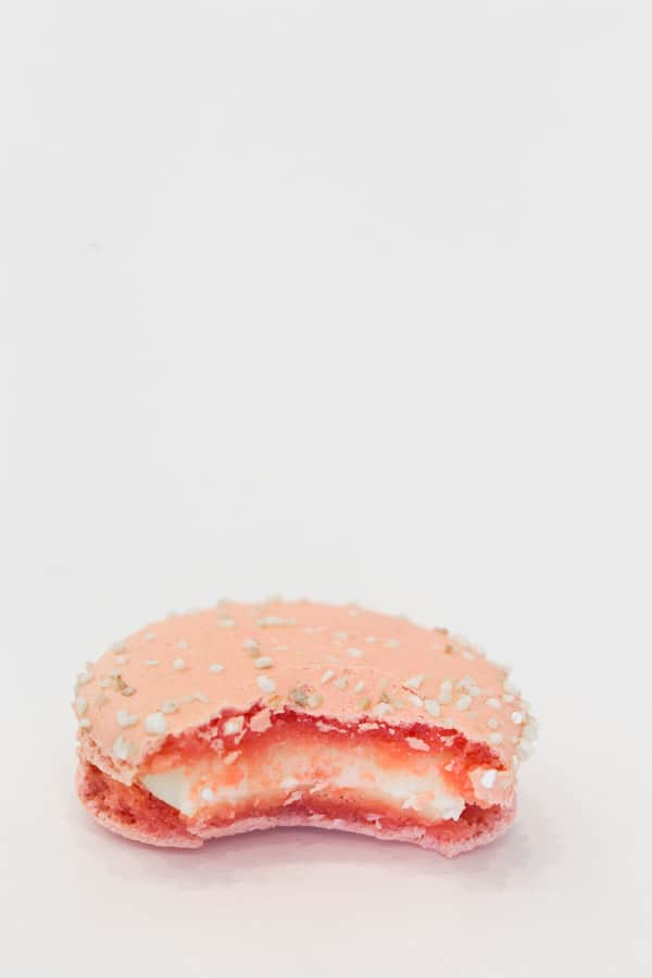 Lette Macaron with a bite taken out.