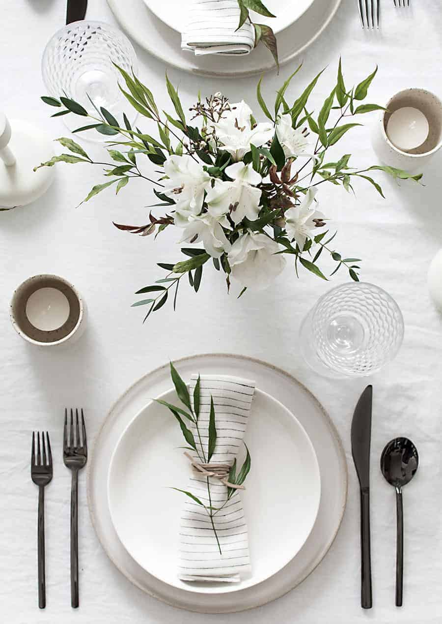 Simple black and white table setting