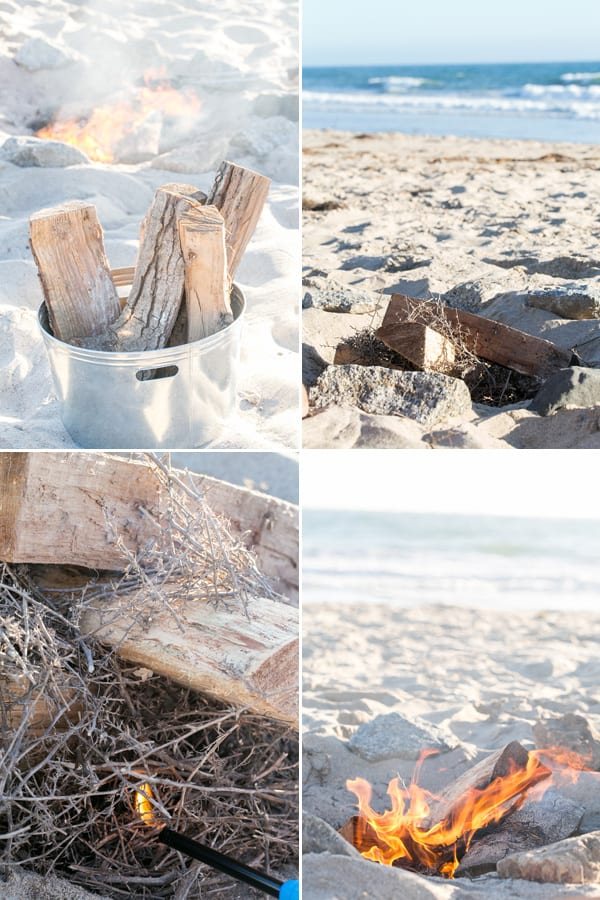 collage of how to make a beach bonfire