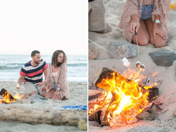 collage of a couple enjoying some marshmallows around the fire