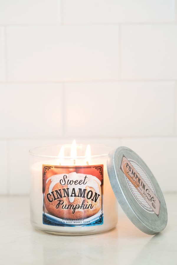 shot of pumpkin scented candle