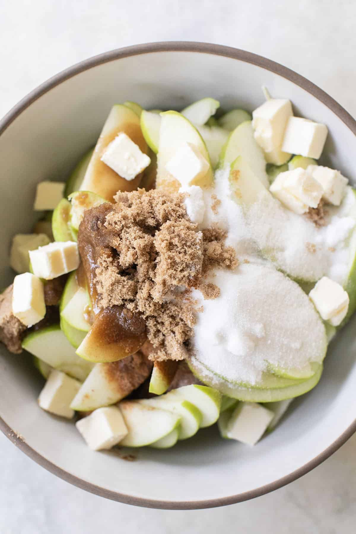 sugar, butter and sliced apple
