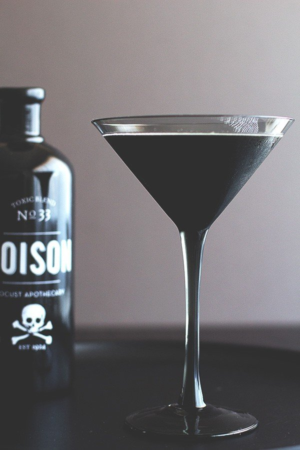 Black Halloween cocktail martini.
