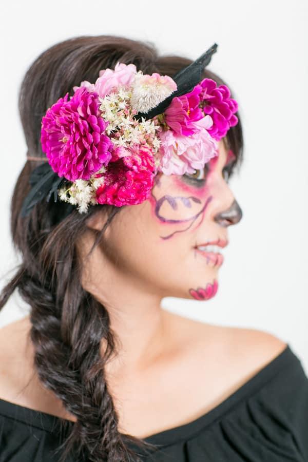 floral crown on model