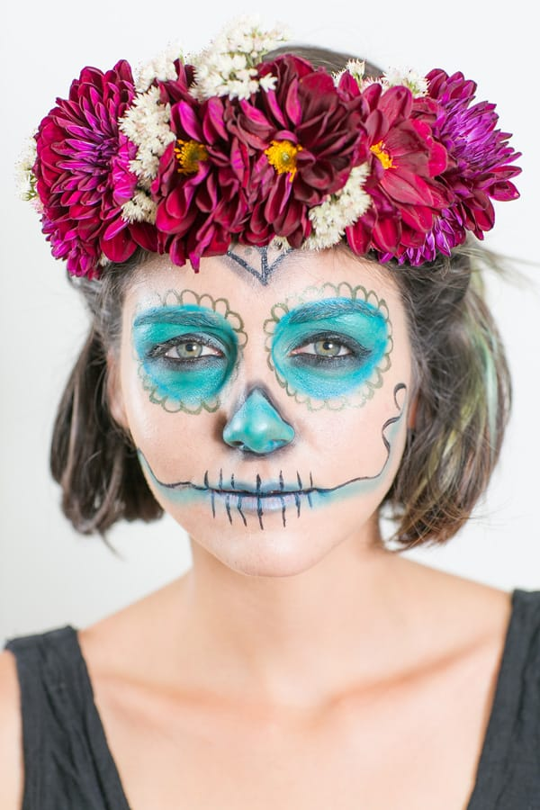 easy day of the dead makeup on a model