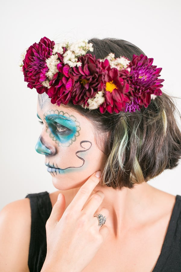 model wearing easy day of the dead makeup