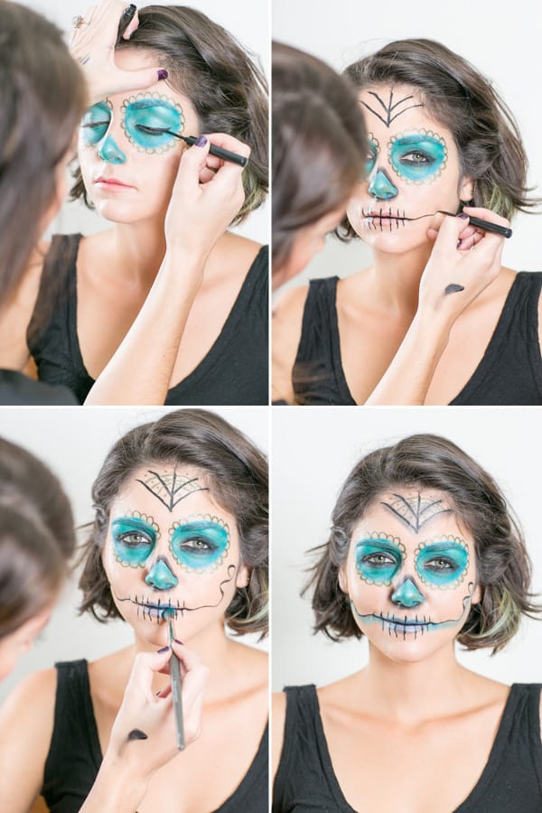 collage of easy day of the dead makeup being applied to model