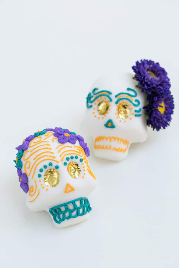 close up of Mexican sugar skulls