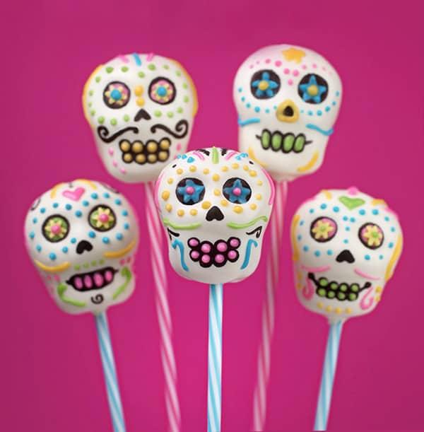 Sugar skull cake pops.