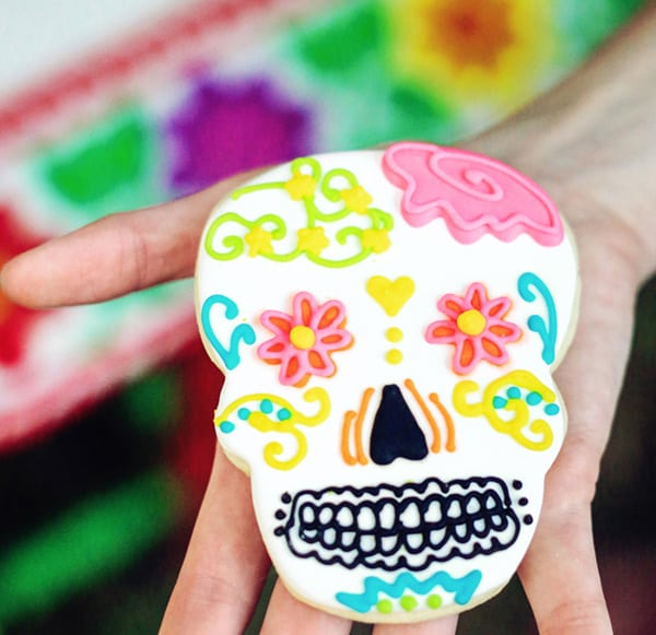 Colorful skull cookie.