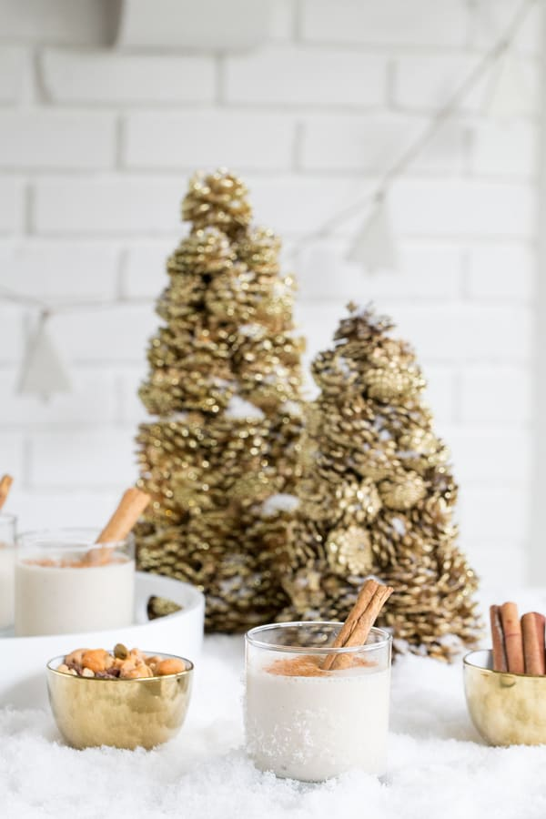 Frozen Banana Foster with cinnamon sticks and gold trees.
