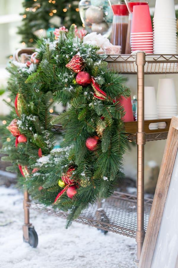 shot of wreath on hot cocoa bar