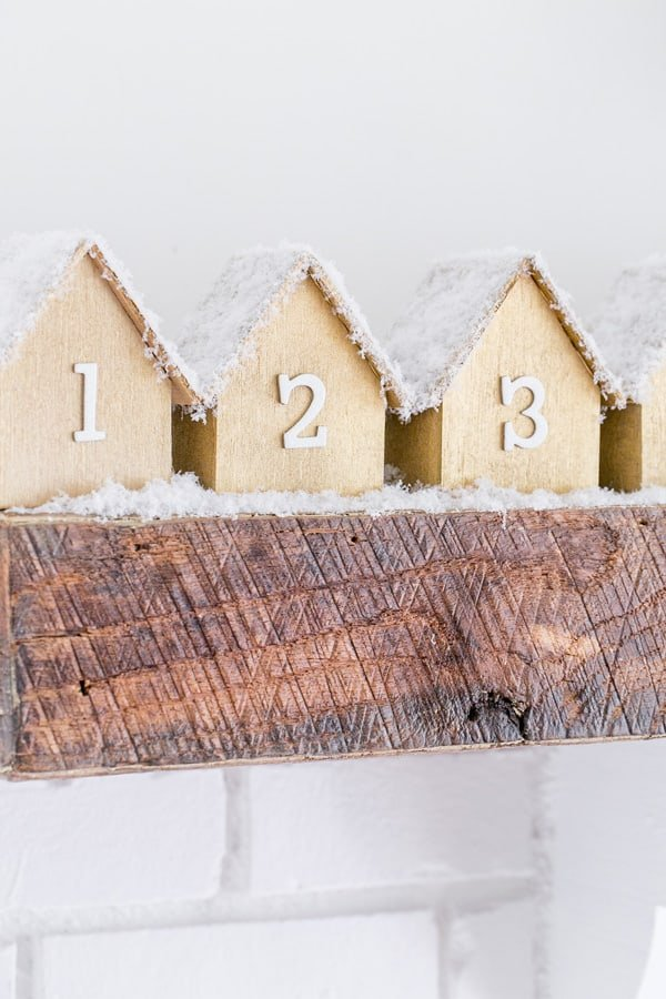 shot of first three wooden house, part of the DIY Advent Calendar
