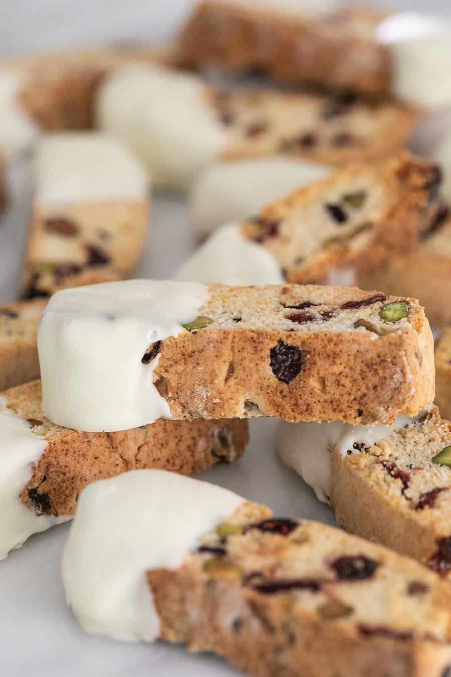 The best biscotti dipped in white chocolate.