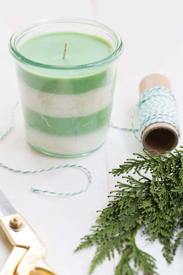 pine scented candle - handmade christmas gift ideas