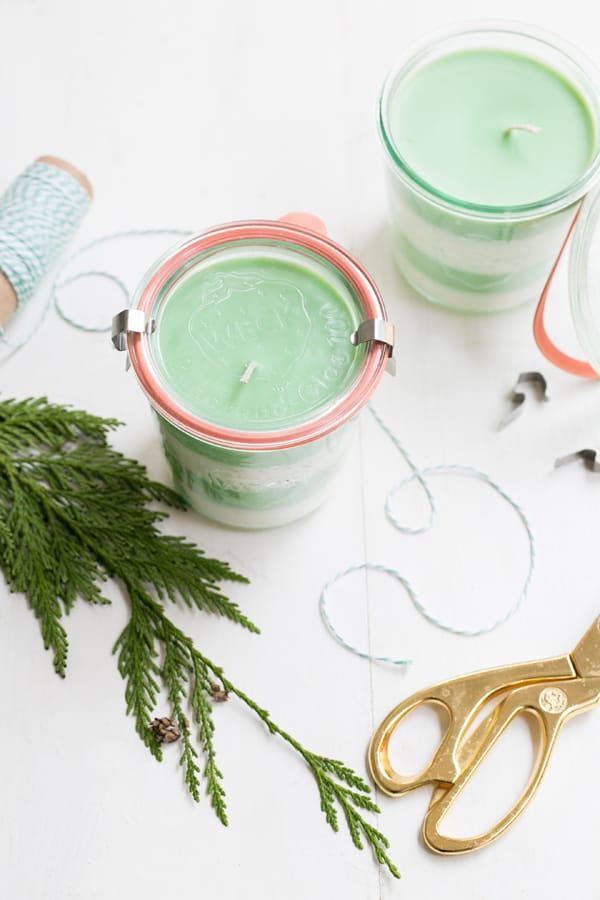 Pine Scented Candles for DIY Christmas gift ideas