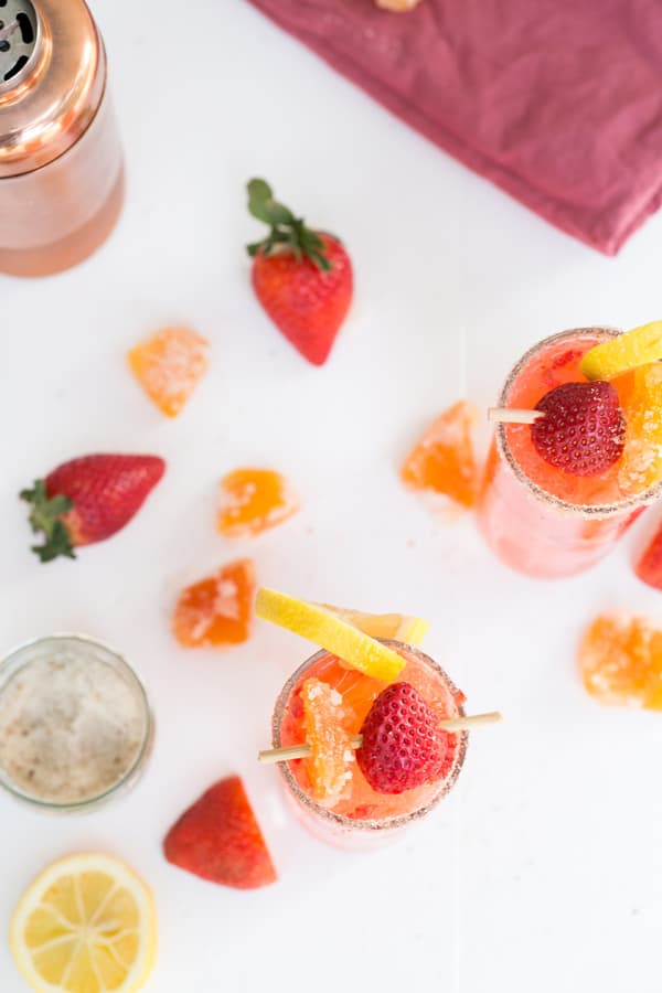 Grapefruit Strawberry Collins recipes with strawberries, lemons and candied ginger.