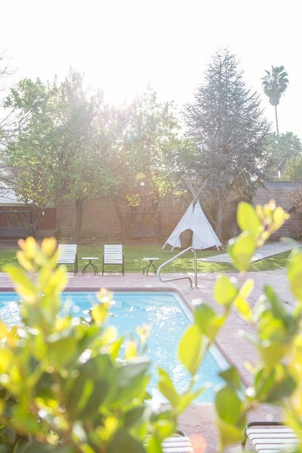 Pool with tipi in Ojai California