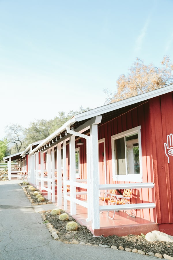 Red hotel with white porch in Ojai