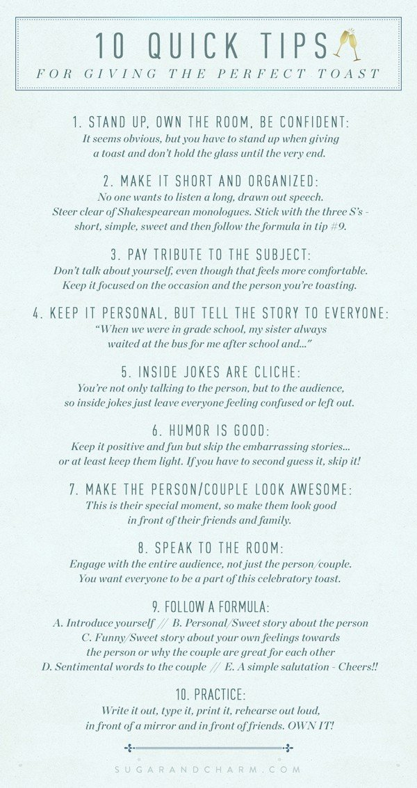 a graphic with tips for making a wedding toast