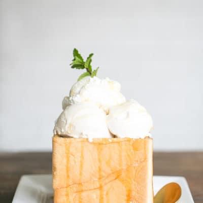 Honey Bread with ice cream on top