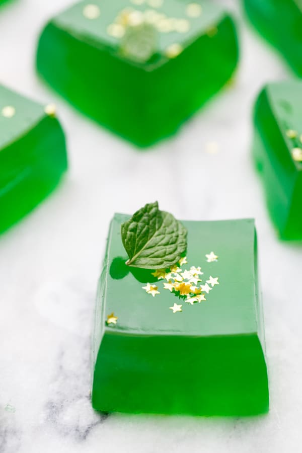 Jameson Irish Whiskey Shots with Edible gold stars for St. Patricks Day.