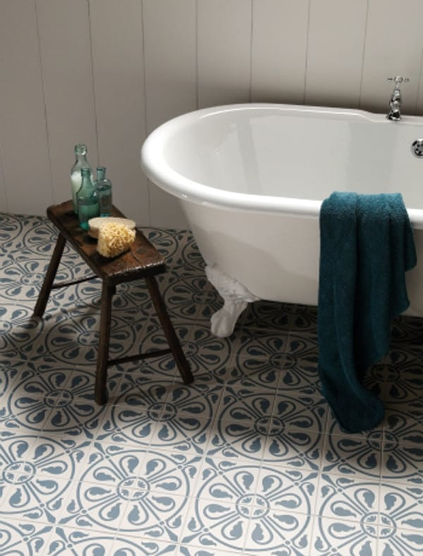 Cement tile bathroom floor
