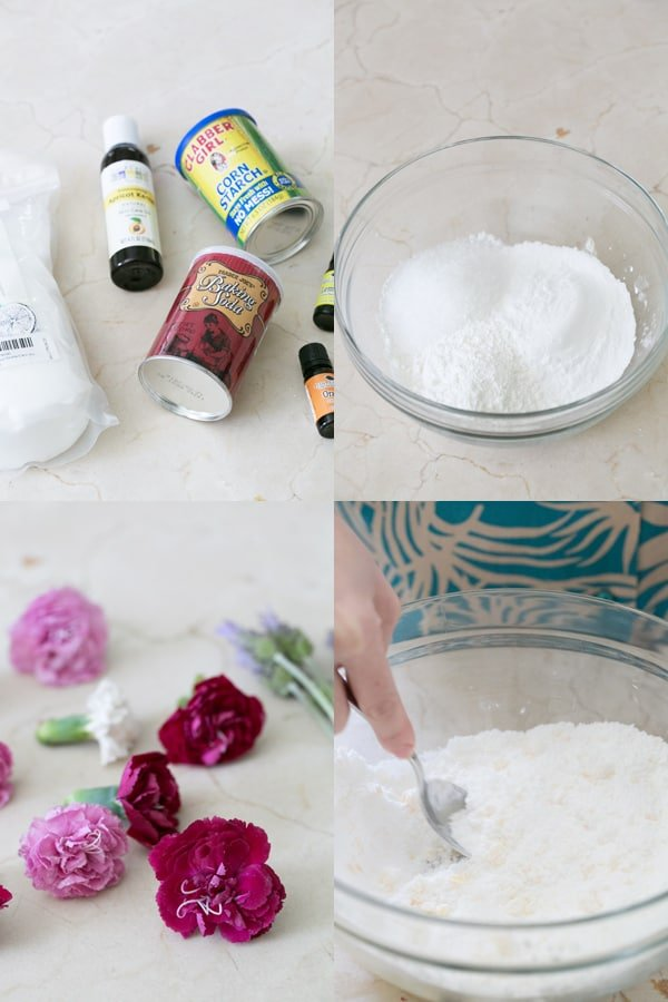 collage of home to make bath bombs