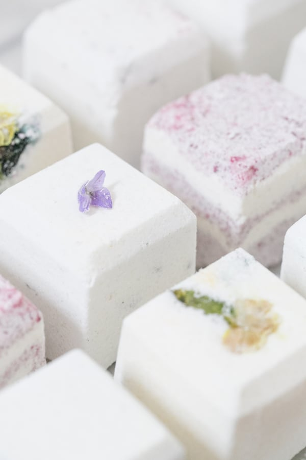 cubes bath bombs with dried flowers